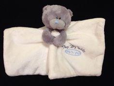 Tiny Tatty Teddy Bear Comforter Soother Blanket Me to You Grey Blue Cream Hug