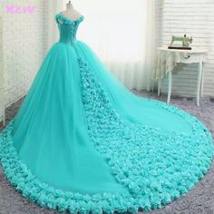 Floral Wedding Dress Ball Gown Pink Bridal Gowns Prom party Gown Quinceanera Dresses from prom dress Sweet Wedding Dresses, Sweet 16 Dresses, Formal Dresses For Weddings, Sweet Dress, Dress Formal, Formal Gowns, Blue Weddings, Formal Prom, Blue Ball Gowns