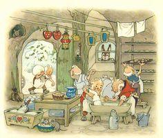 Fritz Baumgarten / Weihnachtsfest im Wichtelland / Bild 04 Art And Illustration, Magical Creatures, Woodland Creatures, Baumgarten, Elves And Fairies, Vintage Children's Books, Fairy Art, Childrens Books, Illustrators