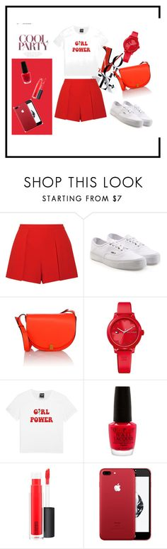 """""""Simple in Red"""" by hantisetya6 on Polyvore featuring Alice + Olivia, Vans, Victoria Beckham, Tommy Hilfiger, OPI and MAC Cosmetics"""