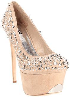 Studded nude sude platform #shoes