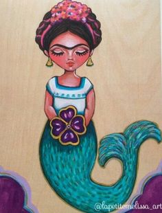 Frida Sirenita Little Mermaid Kahlo Inspired Illustration Whimsical Art Print By Melissa Victoria Nebrida
