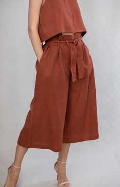 Rust Linen Paper Bag Pants Warm In The Winter, Rust, Design Inspiration, Paper, Fabric, Bags, Outfits, Clothes, Fashion