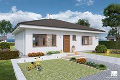 Projekt domu - bungalov O110 | DJS Architecture Bungalow Landscaping, 3 Bedroom Bungalow, Stone Cladding, Construction Cost, Energy Efficient Homes, Building Structure, Village Houses, New House Plans, Plan Design