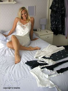 Is that for me to wear too? Pretty Lingerie, Beautiful Lingerie, Women Lingerie, Sexy Lingerie, Lingerie Drawer, Lingerie Pictures, Boys Wear, Satin Skirt, Sexy Older Women