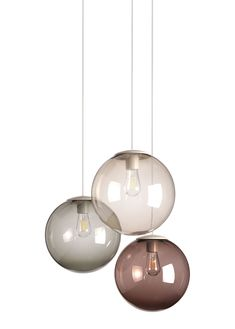 Spheremaker Pendant - Set of 3 Mole, Grey, Brown by Fatboy - Design furniture and decoration with Made in Design Dining Room Lighting, Home Lighting, Chandelier Lighting, Modern Lighting, Lighting Design, Chandeliers, Pendant Lamp, Pendant Set, Lamp Sets