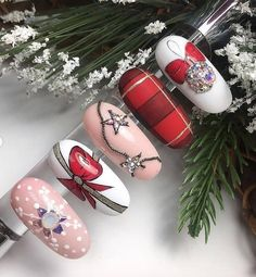 this christmas awesome nails design ideas and nail polish 23 Nail Art Noel, Xmas Nail Art, Christmas Nail Art Designs, Xmas Nails, Toe Nail Art, Holiday Nails, Christmas Nails, Plaid Nail Designs, Cool Nail Designs