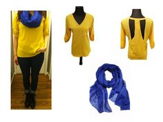 Yellow top and nightlight scarf--check out the back! | Madison Boutique