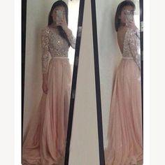 Long sleeve prom dress, Backless prom dress, Long prom dress, Sexy prom dress, prom dress shop, lace prom dress, Pink prom dress, 15057