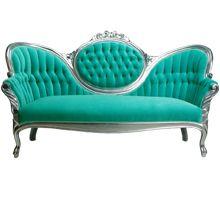 "Victoria Sofa  S20094-00   DESCRIPTION: Victorian design with aqua blue velvet and silver metallic frame and legs.  Aqua blue velvet sofa.DIMENSIONS: 42""h x 68""w x 28""d     Quantity Available: 1    www.formdecor.com"