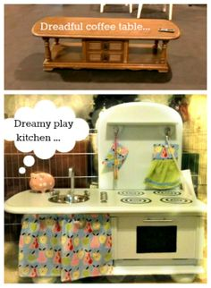 Coffee-table upcycled into a play kitchen for a very short chef  :)