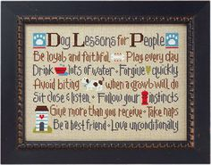 Lizzie Kate - Dog Lessons For People 143 - Counted Cross Stitch Pattern Chart. $7.99, via Etsy.