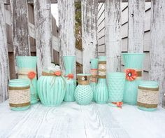 Burlap and Lace, Mint Green and Coral SHABBY CHIC Vase set of 10 OOAK. $99.00, via Etsy. - Hemlock
