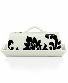 #MarthaMacys Martha Stewart Collection Lisbon Black Covered Butter Dish