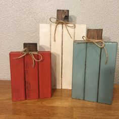 Rustic Wood Pumpkins Set of 3