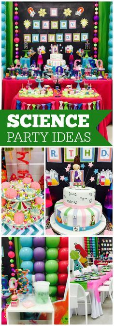 This birthday girl is mad about science!  See more party ideas at CatchMyParty.com!