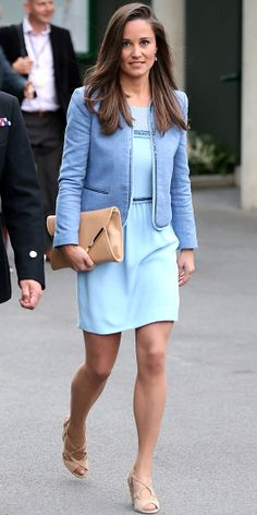 Pippa Middleton wore a powder blue dress and periwinkle blue coat with neutral accessories. 24/6/13