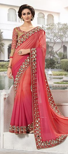 176402 Orange, Pink and Majenta  color family Embroidered Sarees, Party Wear Sarees in Faux Georgette fabric with Lace, Mirror work   with matching unstitched blouse.