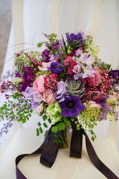 www.sophisticatedfloral.com Purple lavender violet garden style bridal bouquet Roses tulips anemone tulips maidenhair fern sweet peas