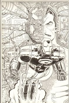 And here's a later MARVEL AGE cover by John Romita Jr and Dick Giordano done many years later. Comic Art, Black And White Comics, Comic Book Artwork, Iron Man Art, Marvel Characters Art, Art, Marvel Comics Art, Romita, Jr Art