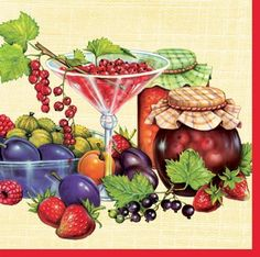 Fruits Decoupage Paper Napkins Stawberry Cherry Plum by YWart