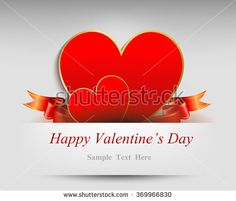 Double hearts from paper Valentines day card vector background  - stock vector
