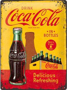 Coca-Cola Coke Bottles Yellow Retro Style Large Metal Tin Sign - Coca Cola - Idea of Coca Cola Coca Cola Poster, Coca Cola Drink, Coca Cola Ad, Always Coca Cola, World Of Coca Cola, Coca Cola Bottles, Coca Cola Vintage, Vintage Tin Signs, Vintage Posters