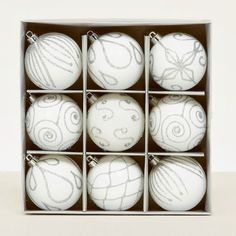 9 White Decorated Baubles