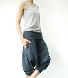 NO.43  Bluish Grey Cotton Cocoon Pants  Urban Casual  Cropped Pants Trousers. $38,00, via Etsy.
