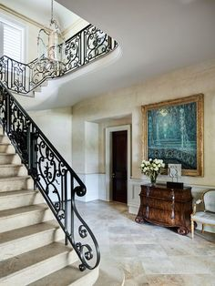 This Traditional Sydney Home Is the Ultimate Indoor-Outdoor Retreat – Decorating Foyer Outdoor Stairs, Indoor Outdoor, Floor Design, House Design, Stair Well, Wrought Iron Stairs, Limestone Wall, Outdoor Retreat, Foyer Decorating