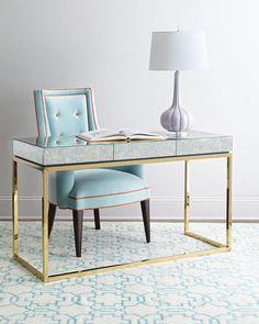 Jonathan Adler Delphine Desk. Antiqued-mirror table top.Polished brass base and hardware. #bluedesk #bluedecor #desk #afflnk #funkthishouse