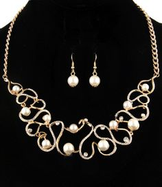 Ivory Pearl Rhinestone Swirl Necklace Set Elegant Bridal Jewelry