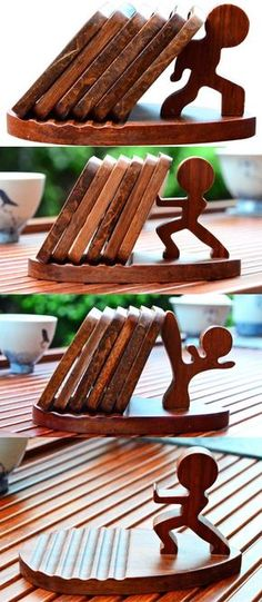 Small Wood Projects, Projects To Try, Deco Originale, Diy Coasters, Table Coasters, Diy Holz, Coaster Furniture, Woodworking Projects Diy, Woodworking Furniture