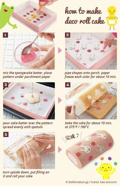Super easy Japanese Cake Roll instructions.  Be creative. .you can make ANY design.