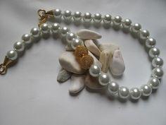 Handmade Wedding pearl necklace  Bridal bold  big by galladesign, $55.00