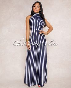 bfdf72c97ac Luciana Navy-Blue White Stripes Halter Neck Jumpsuit Blue And White
