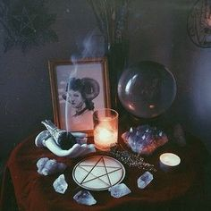 via Brickflow - aeris-borialis A good idea: a small table somewhere, arranged like an altar.A good idea: a small table somewhere, arranged like an altar. Autel Wiccan, Wicca Altar, Wicca Witchcraft, Magick, Pagan Witch, Le Totem, Soirée Halloween, Baby Witch, Witch Decor