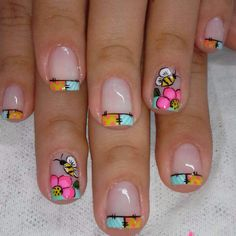 french nails ideas Tips Summer Acrylic Nails, Summer Nails, Spring Nails, Nail Polish Designs, Nail Art Designs, Love Nails, Fun Nails, Nail Art For Girls, Square Nail Designs