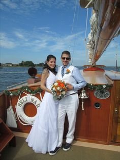 Formal pic for a casual couple! For romance, relaxation, and an authentic experience climb aboard the yacht Sail Selina II, St Michaels MD