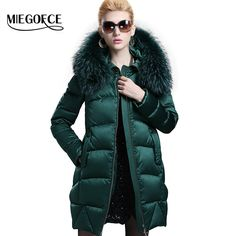 MIEGOFCE 2016 New Winter CollectionCasual Winter Women Down Jacket with Big Raccon Collar Woman Down Parka with Hood Winter Coat