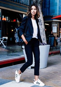 Sport shoes + strong cropped pants + blazer = perfect comfy work look