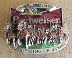 Budweiser Beer 1987 Metal & Red Enamel Belt Buckle This Buds for You   #AnheuserBusch #Classic