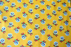 Vintage Fabric - Provence French Country Yellow and Blue Flowers - Over a Yard. $20.00, via Etsy.