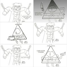 By artsymeeshee on tumblr. Cake is for talkers --- Gravity Falls. Stanford Pines, Ford, Bill Cipher, knife