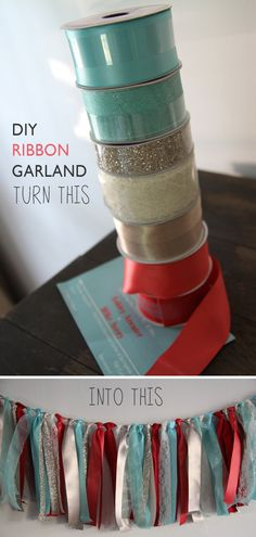 DIY ribbon garland... I really like this but with mint, coral, grey, and silver :)