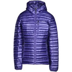 Patagonia Down Jacket ($250) ❤ liked on Polyvore featuring outerwear, jackets, blue, logo jackets, single breasted jacket, blue zipper jacket, multi pocket jacket and down jacket