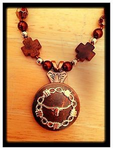 Gorgeous Western Longhorn Concho Necklace! Authentic Brown Turquoise. ONE OF A KIND!