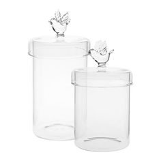 BIRD JAR ref. 48079455 Round glass jar decorated with a bird on the metal lid. Available in two sizes. Sold separately. 10 x 17.5 / 9 x 16 cm