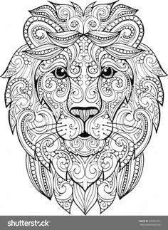 Find Hand Drawn Doodle Zentangle Lion Illustration stock images in HD and millions of other royalty-free stock photos, illustrations and vectors in the Shutterstock collection. Lion Coloring Pages, Printable Adult Coloring Pages, Coloring Books, Colouring, Lion Head Drawing, Mandala Drawing, Mandala Coloring, Doodle Art, Book Art