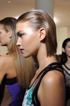 short slicked back hair fashion models